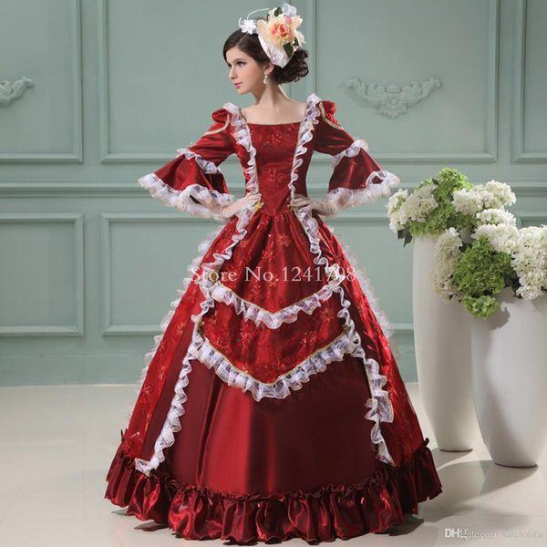 Marie Antoinette Dress Wine Red Floral Printing Renaissance Princess Dress European Court Period Costumes For Women