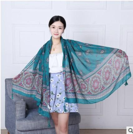 2016 Hot Autumn &Winter Pashmina Women Chiffon Voile Long Shawl Wrap Women's Girls New Scarfs Wraps Soft Fringes Flower Printing Large Size