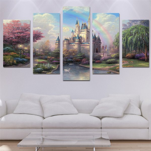 5 Panels Beautiful castle Modern Abstract Canvas Oil Painting Print Wall Art Decor for Living Room Home Decoration
