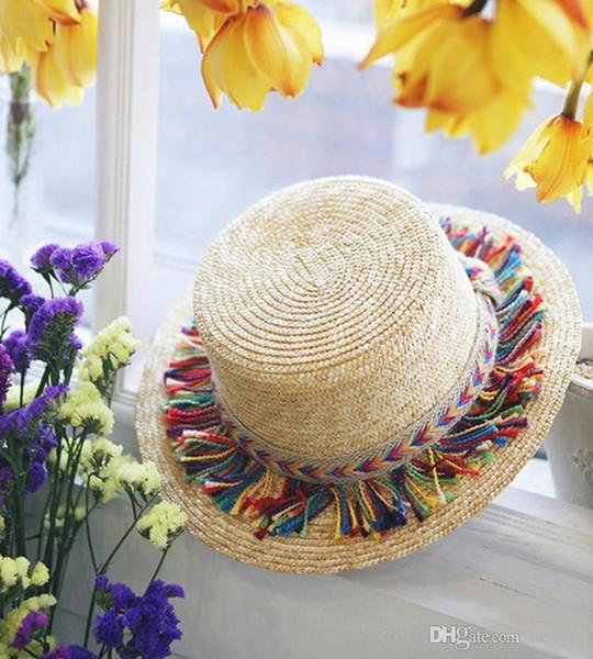 Moda nuova spiaggia di colore nappa paglia sole ombrellone viaggio piccole donne avaro cappello a tesa larga