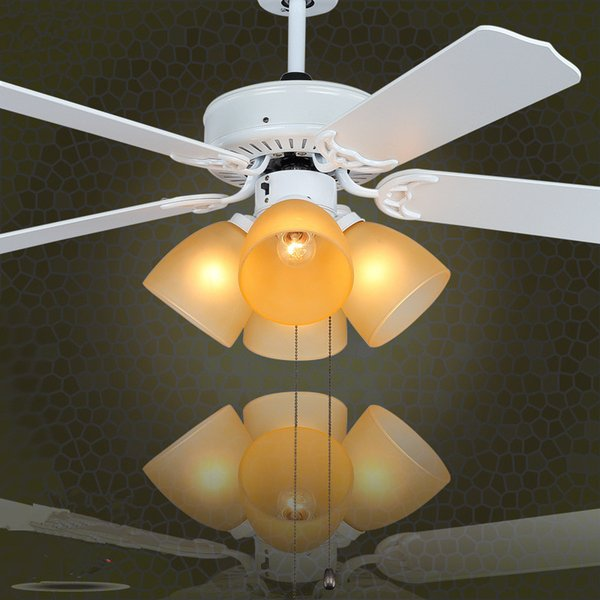 42 inch 52 inch Modern Ceiling Fans Chandelier Light with Glass Shade Wood Blades In White Restaurant Ceiling Fans Light