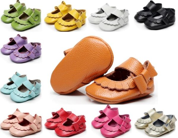EMS free!40 pairs/lot(mix color and size)Newest Genuine Leather Baby girls shoes Bow baby princess shoes Top quality newborn shoes