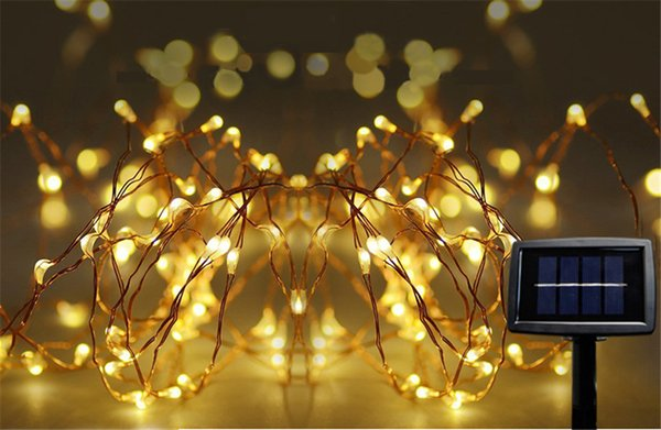 10m 33ft 100 led dc solar powered outdoor submersible copper wire string lights bright lamp for
