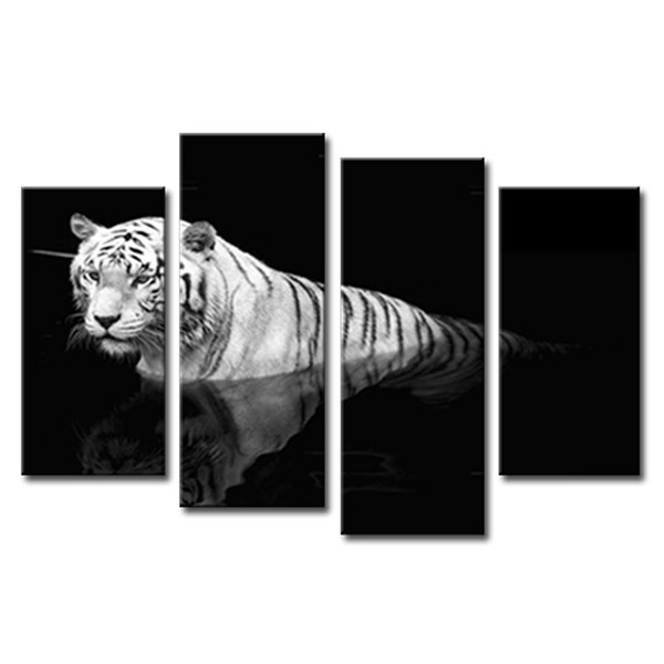 4 Pieces Canvas Paintings Black White Wall Art Painting Tiger Print On Canvas Animal Pictures For Home Decor With Wooden Framed