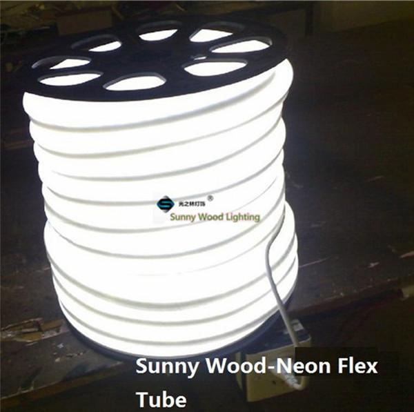 50 metros de tubo de néon flexível, 110 / 220V entrada levou tubo de placa de sinal, tubo flexível cor branca com cabo de alimentação e clipes LNF-2514-220V