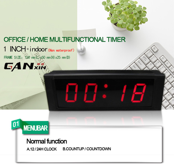 [Ganxin] Big sale LED display Clock with Countdown/up Timer, 12/24-Hour Real Time Clock, Stopwatch by Remote Control