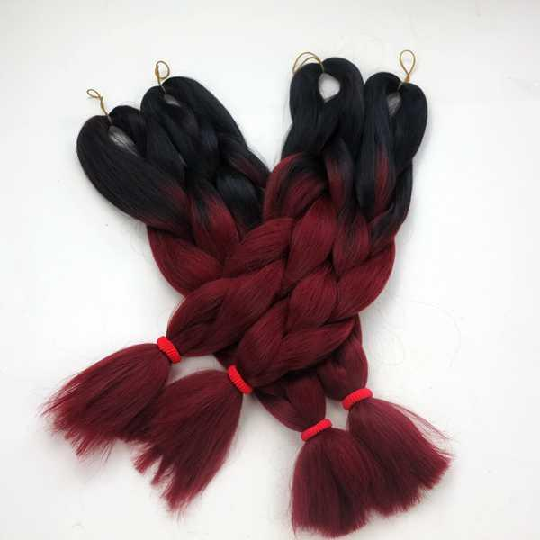 Ombre Dip Dye Two Tone Colored Jumbo Braiding Hair Synthetic Heat Resistant Jumbo Braid Black/Burgundy color