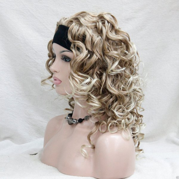 free shipping charming beautiful new Hot selL 3/4 wig with headband Strawberry blonde mix curly women's 20