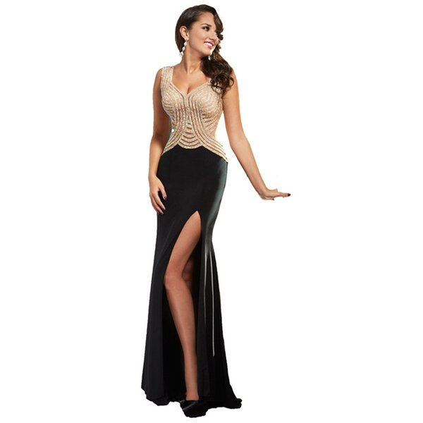 2019 Sexy Beaded Evening Dresses Mermaid Party Evening Gowns Cap Sleeves Floor Length Side Slit Prom Dress Robe de soiree