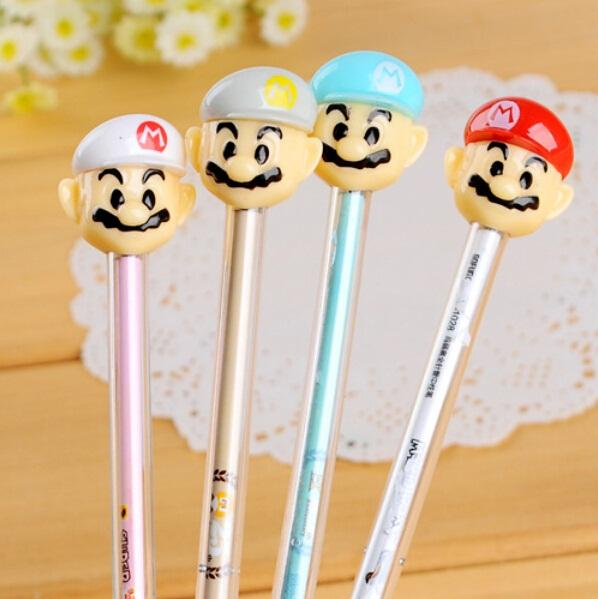 New Creative Kawaii Mario Doll design Needle series gel pen/0.38mm Black pens for Writting Office supply Stationery/Wholesale