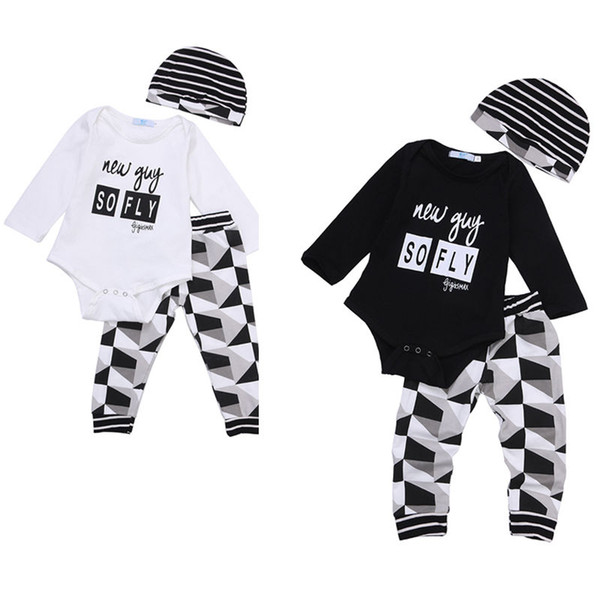 fashion Baby Boy Girl sets Kids Newborn Infant new guy so fly funny letter printed Romper+pants+Hat bodysuit Outfits top Clothing Set 3pcs