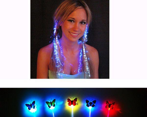 Glowing Flash LED Hair Braid Extension Hairpin Butterfly Luminoso Illuminare Giocattolo Novità Illuminazione Decorazione per Danza Festa di Natale Vacanze