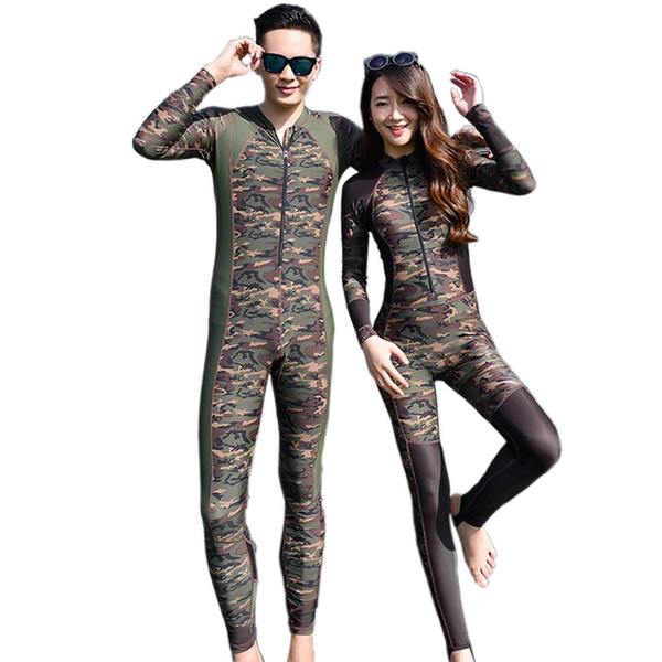 Hot Sale 2016 Fashion Lovers Camouflage Wetsuit Surfing Diving Couples  swimwear Zipper One piece bathing suit 434ecf3b5