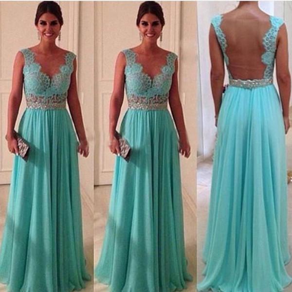 Compre Venta Caliente Barato Turquesa Vestidos De Noche Cuello Transparente Volver A Través Del Vestido Largo Azul Turquesa En Stock 2019 A 10076