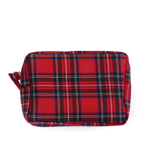 Red Blue Plaid Women Cosmetic Bag Canvas Make up Bag with Polyester Lining Good Quality Cute Gift for Christmas DOM103386
