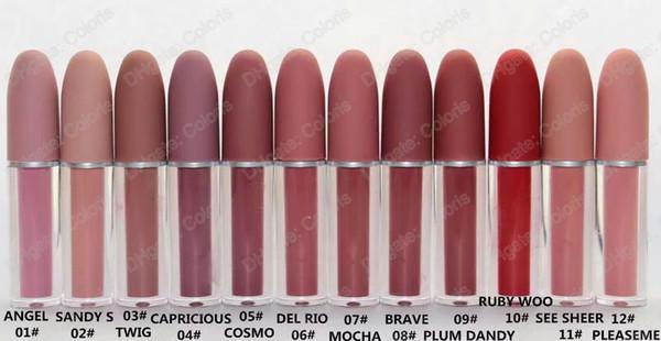 Lustre Lipgloss Retro Frosted Brand Lipgloss Glaze Lipgloss 12 colores diferentes con nombre en inglés 4.5g 12Pcs