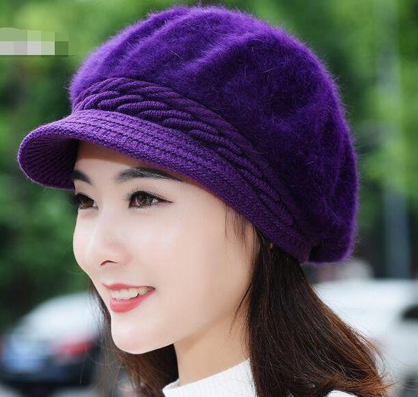 Women Rabbit hair Berets Hats Warm Knitted Wool Caps Solid Color Fashion Street Headwear Crochet Knitting Beret Hat Cap Free Shipping
