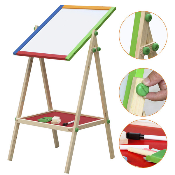 top popular Children Kids 2 In 1 Black   White Wooden Easel Chalk Paint &Drawing Board L 2021