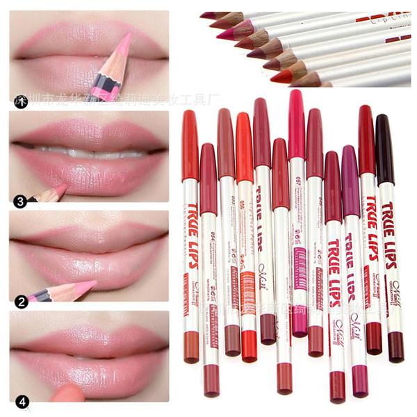 Marka Makyaj Gerçek Dudaklar Dudak Kalemi 12 Renkler Su Geçirmez Uzun Ömürlü Profesyonel Dudak Kalemi Kalem Kozmetik Araçları M.N Kozmetik Makyaj