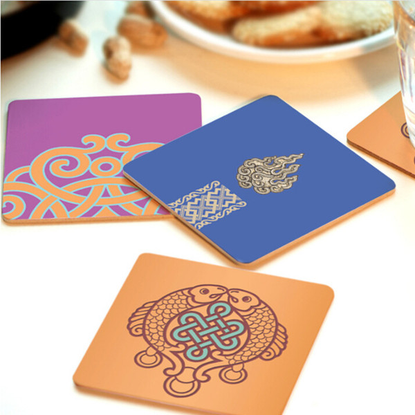 Wholesale- CFen A's Creative wood Coasters Cup Bowl Pad Non-slip heat proof coffee drink Coasters Cup Mat DIY hand painted