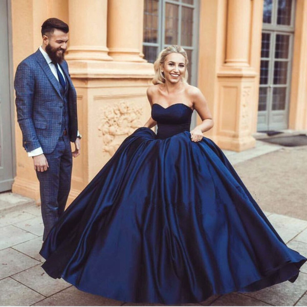2017 New Dark Navy Sweetheart Puffy Ball Gown Prom Dresses Long Modest Ruched Formal Evening Gowns Custom Made China EN82511