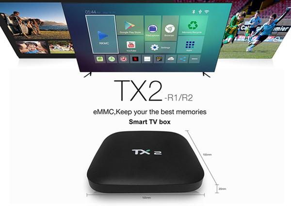 2GB+16GB TX2 R2 Android 6.0 Smart IPTV TV Box Bluetooth RK3229 WiFi 4K Media Player frees shipping