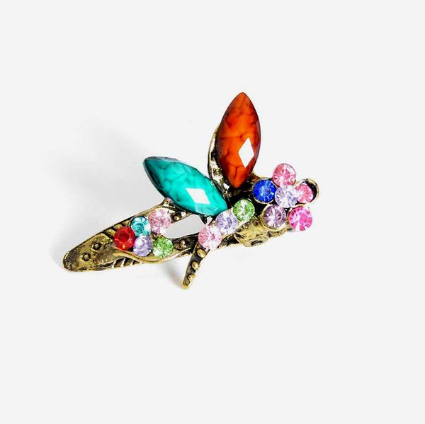 New Fashion Mini Hair Jewelry Vintage Colorful Crystal Rhinestone Dragonfly Hair clips claw Hair Accessories For Women Gift DHF235