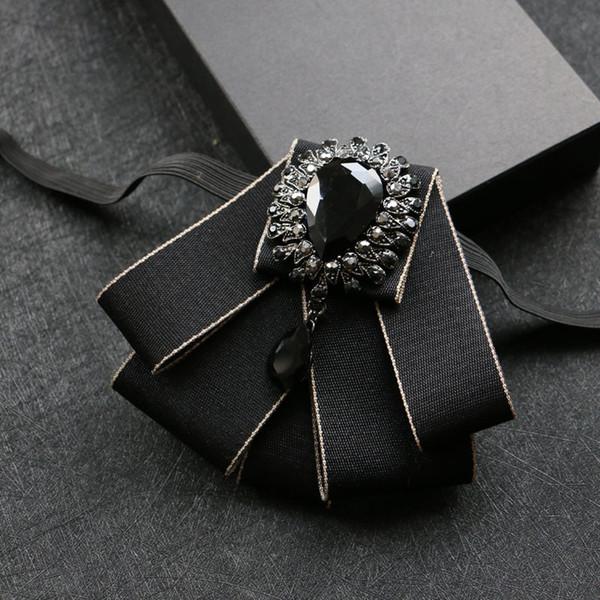 Diamond wedding groom Groomsmen dress high-end men's tie Metrosexual bow tie British collar