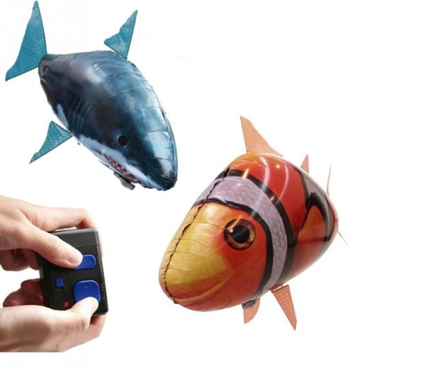 IR RC Air Swimmer Shark Clownfish Flying Air Swimmers Inflatable Assembly Swimming Clown Fish Remote Control Blimp Balloon Air Swimmer Toy