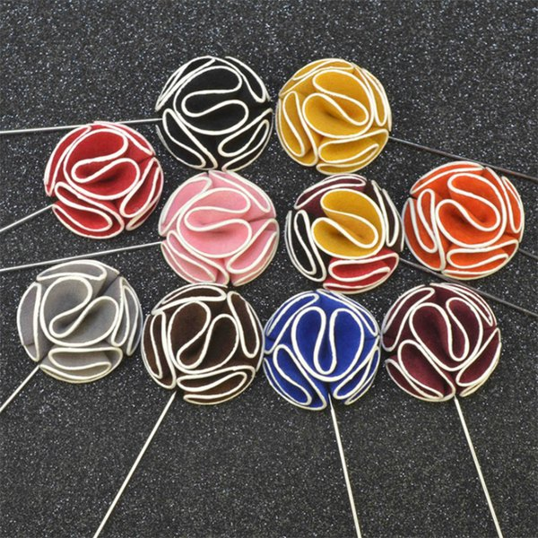 New fashion men brooch Flower lapel pin suit Boutonniere Fabric yarn pin 12 colors button fabric flower brooch For wedding