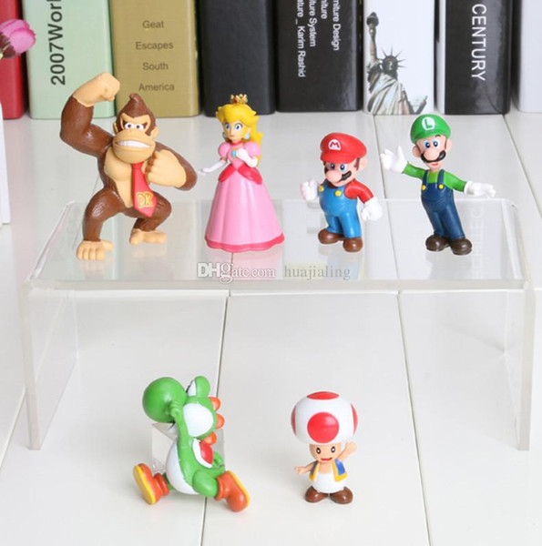 6pcs/set Super Mario Bros Luigi donkey kong Action Figures youshi mario 2inch PVC Toys Dolls Gift Children's Gift toy Sets in opp bag