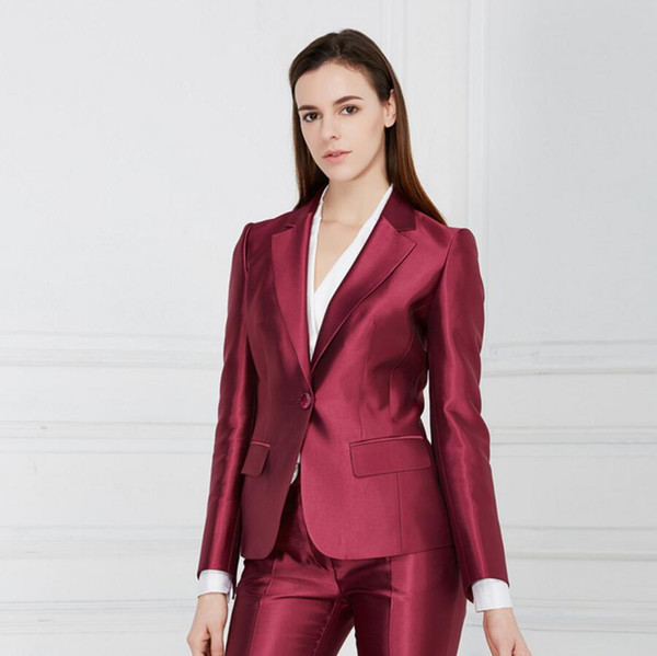a16ed487 2019 Women'S Two Piece Pants Female Career Suits Satin Custom Formal  Occasions Suits OL Suit Business Interview Women Tailored Suit From ...