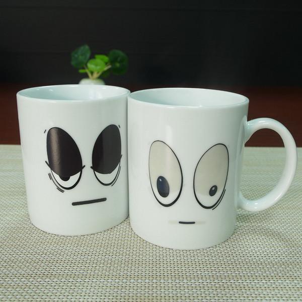 DHL Gift Items White Big Eyes Ceramic Magic Heat Sensitive Color Changing Coffee Mug Tea Cups Plastic Mugs Popular Coffee Mugs From Romanda $249 25