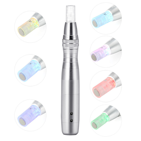 LED Photon Light Derma Pen Skin Treatments For Acne Scars Removal Rechargeable Dermapen With 50pcs Needle Cartridges