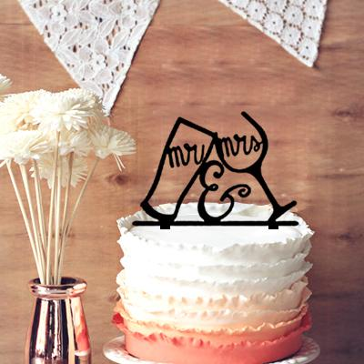 Couple Wine Glass Cake Topper, Toasting Beer and Wine Glasses Wedding Cake Topper Mr and Mrs Silhouette