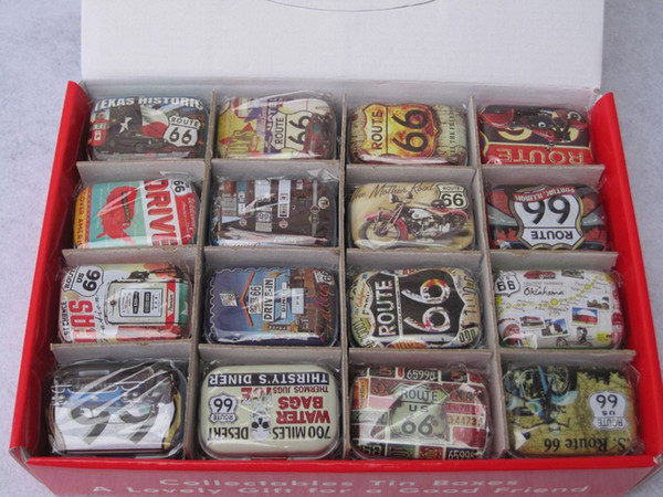 32Pcs/lot Route 66 Candy Box/ tin gift box /Travel Pill Case Square Collectables Tin Boxes