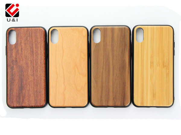 For iPhone X 8 Real Wood Bamboo Case Full TPU Protector Cell Phone Back Cover Custom U&I Wooden for Apple iPhone X 8