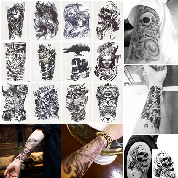 12 Unids / lote 3D Impermeable Cuerpo Brazo Pierna Arte Etiqueta Del Tatuaje Hermoso Tatouage Glitter Negro Tatuajes Temporales Tatoo Grande 210 * 150mm