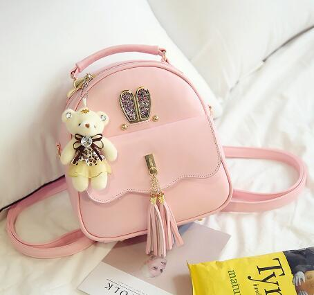 986bfe628432 Women Back Pack Bag Teenage Student School Travel Backpack Tassel Shoulder  Bag Girls PU Leather Small