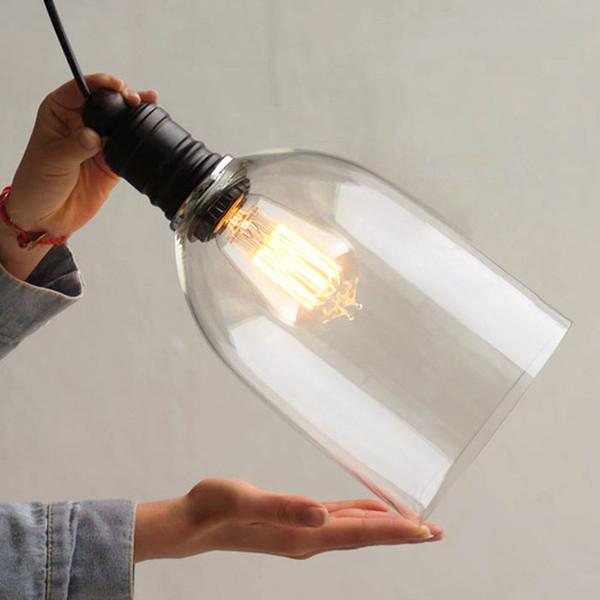 Retro Industrial DIY Ceiling Lamp Light 110V 240V Glass Pendant Lighting  E27 Home Decor Fixtures