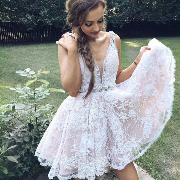 Großhandel 2018 Neu Arrvial Short Lace Homecoming Kleid Cute Perlen ...