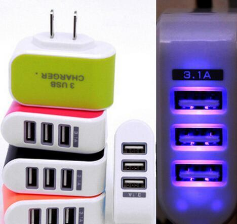 top popular US EU Plug 3 USB Wall Chargers 5V 3.1A LED Adapter Travel Convenient Power Adaptor with triple USB Ports For Mobile Phone ( 5 colors ) 2019