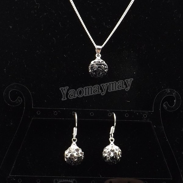New Arrive Rhinestone Set Gradient Black Disco Ball Pendant Earrings And Necklace For Women 10 Sets Wholesale