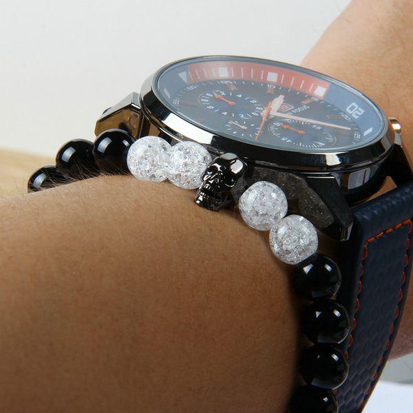 Leistungsstarke Schädel Schmuck Großhandel 8mm natürlichen schwarzen Onyx Stein mit Popcorn Kristall Perlen schwarz Cz Schädel Perlen Armband