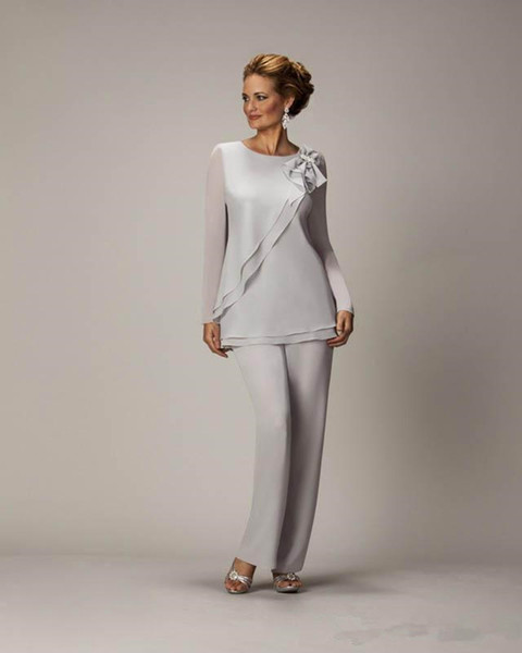 Hot Cheap Silver Chiffon Mother's Pants Suit For Mother of The Bride Groom Ladies Women Wedding Party Evening Gowns