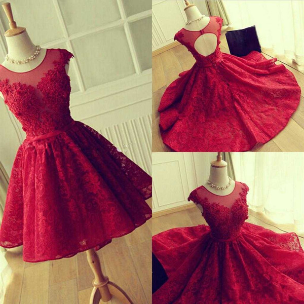 best selling Real Image 2019 Crew Neck Lace Short Homecoming Dresses Hollow Back Red Graduation Dresses Cocktail Dresses Custom Made Cheap