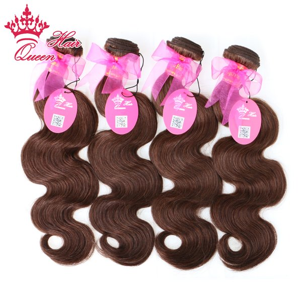 """Queen Hair Products 4 Bundles Lot Brazilian Virgin Hair Body Wave 100% Human Hair #2 Natural Brown Color 14""""-20"""" Free Shipping"""
