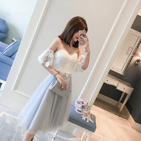 Fashion Two Pieces White Lace And Grey Tulle Sweetheart Short Sleeve Off The Shoulder robe de soiree Abendkleider Evening Gown