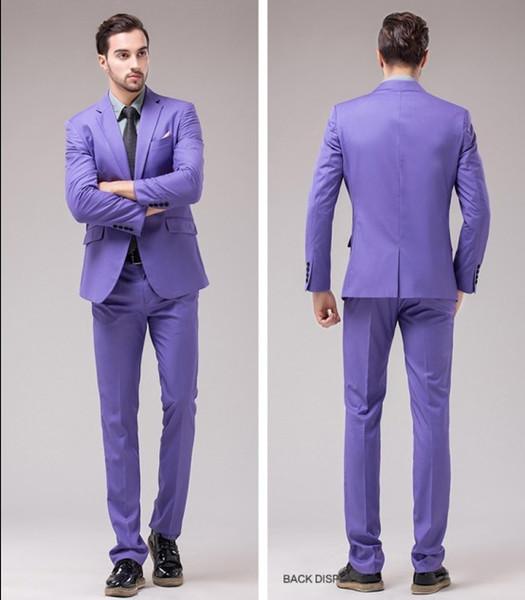 Brand New Groomsmen Center Vent Slim Fit Groom Tuxedos Notch Lapel Men's Suit 12 Colors Best Man Wedding/Dinner Suits (Jacket+Pants) J877