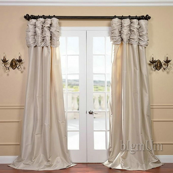 top popular Wholesale ! Luxury Valance and Curtain Panel Solid Beige Coffee Green Burgundy Silvery Window Treatment Ready Made Custom-made Curtains 2020